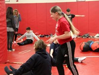 students taking part in fitness activity