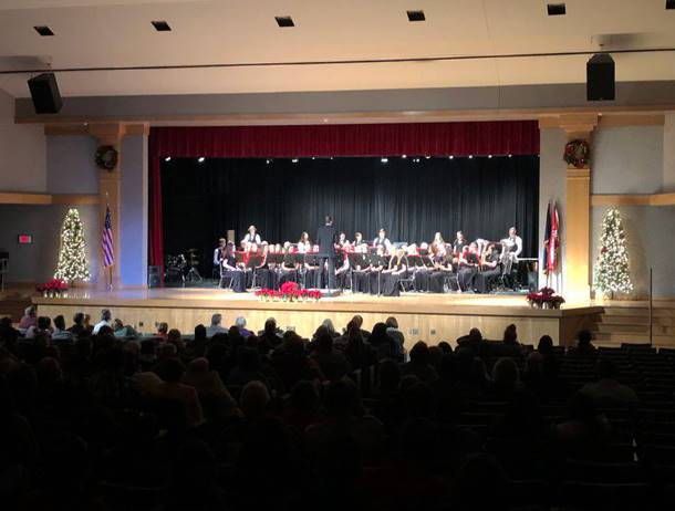wide shot of students playing instruments