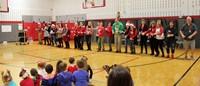 teachers dancing at holiday sing along