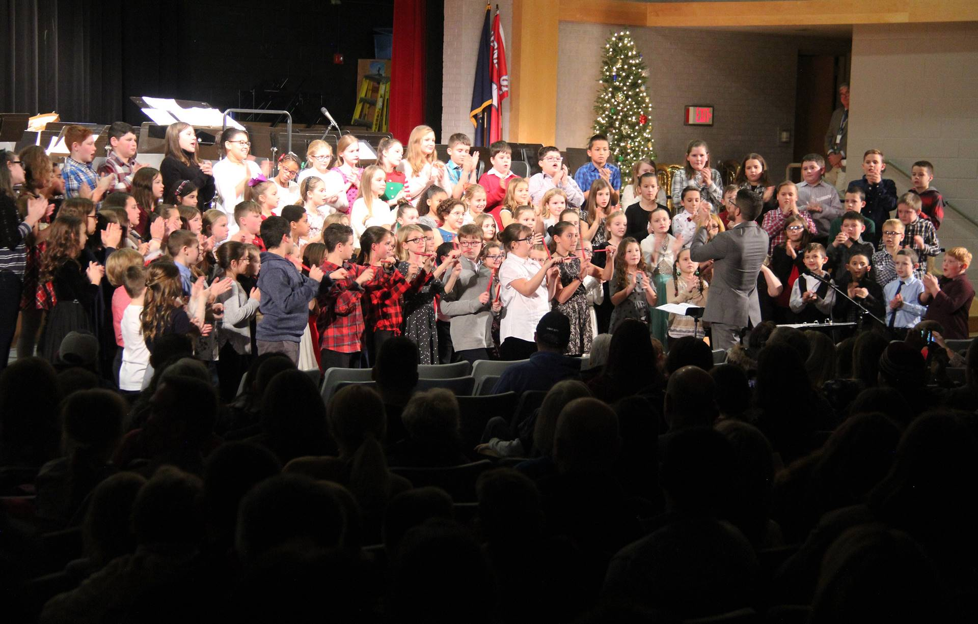 chorus students performing in winter concert