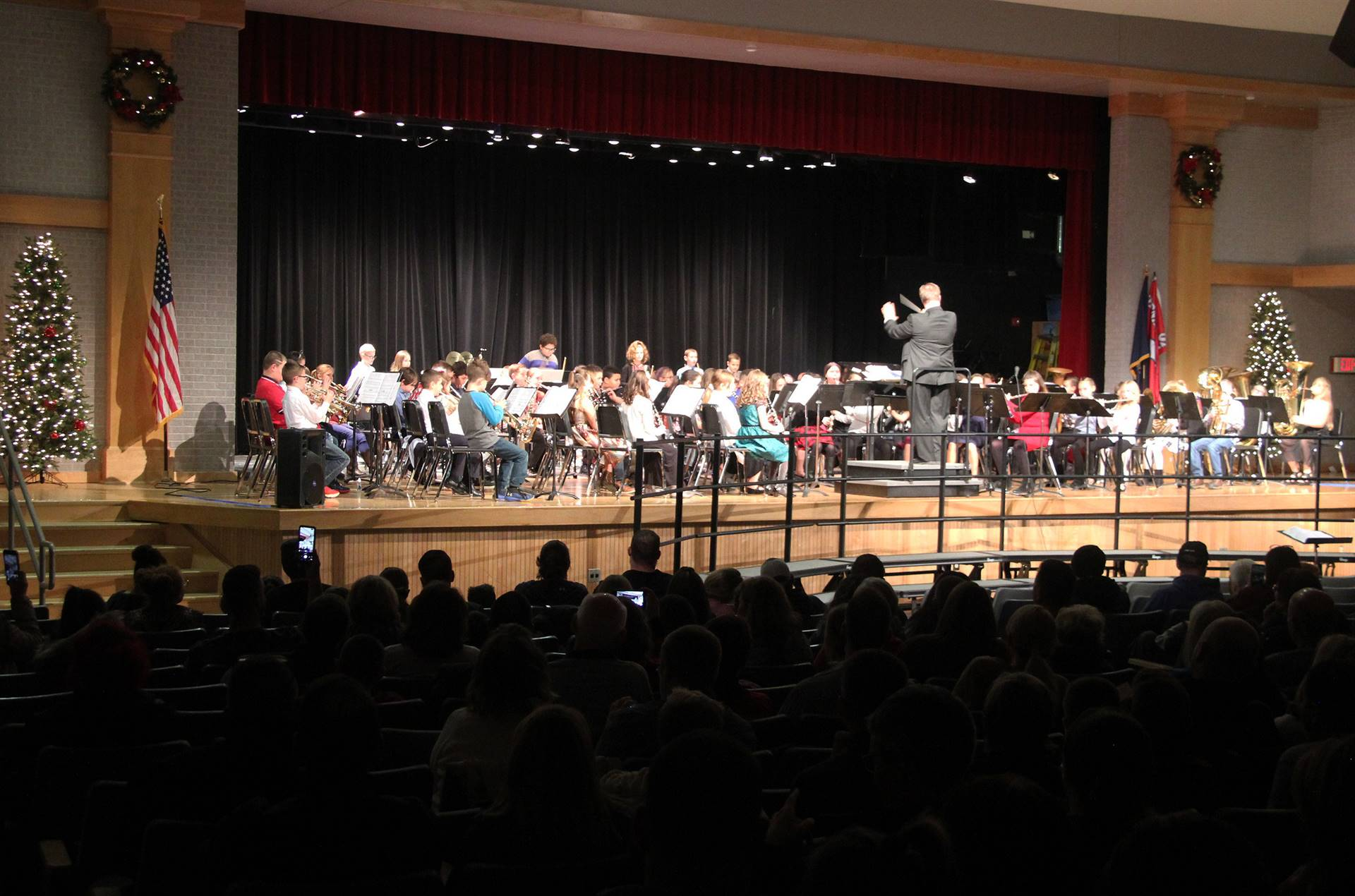 wide shot of band performing in winter concert