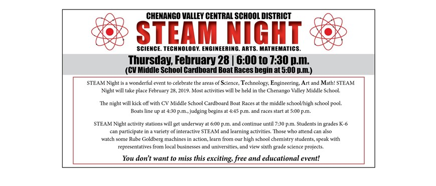 STEAM Night and Middle School Boat Races Flyer