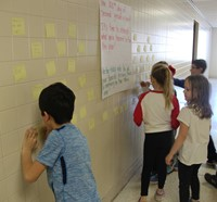 students writing messages