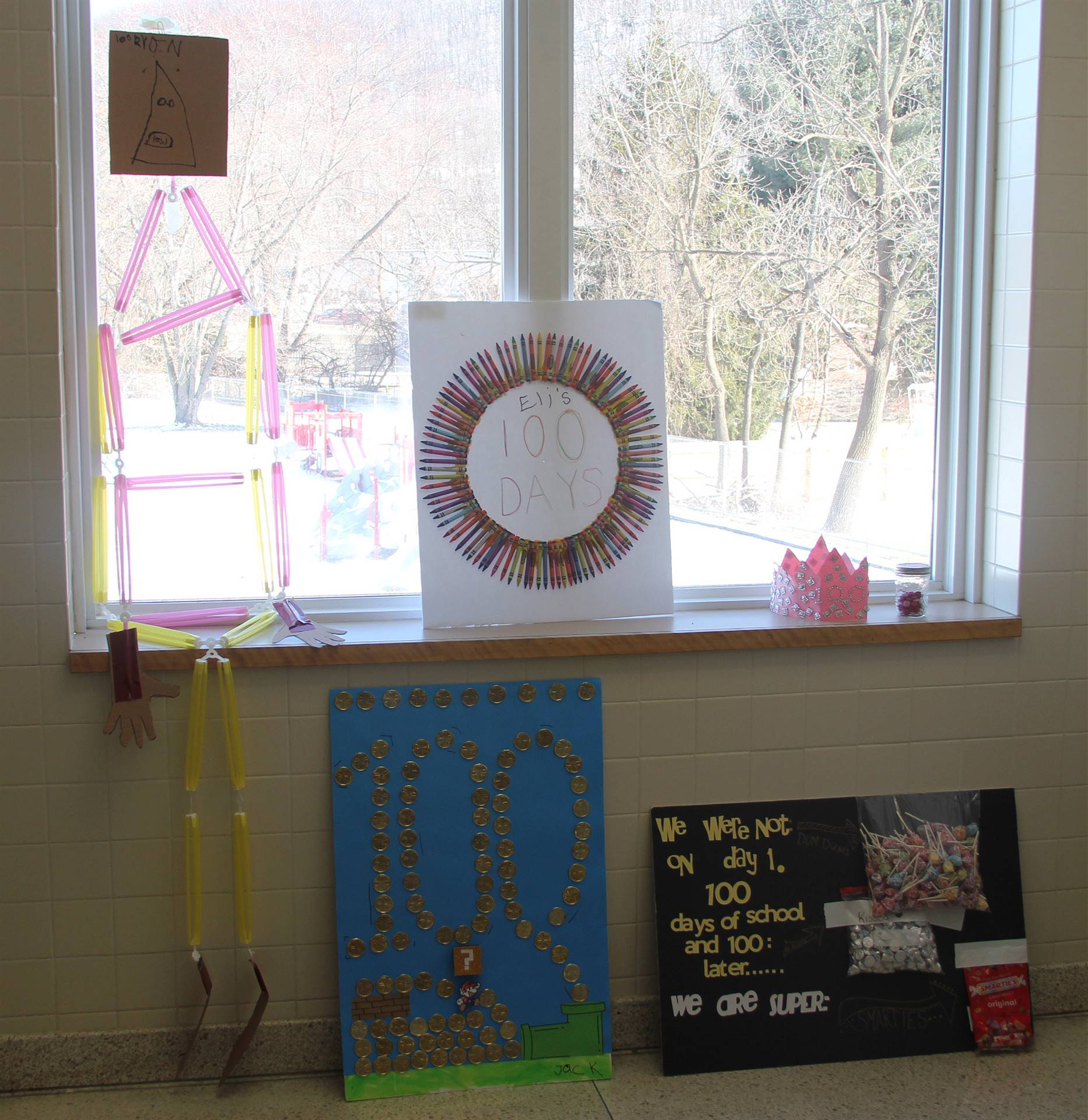 additional 100 days of school projects in hallway