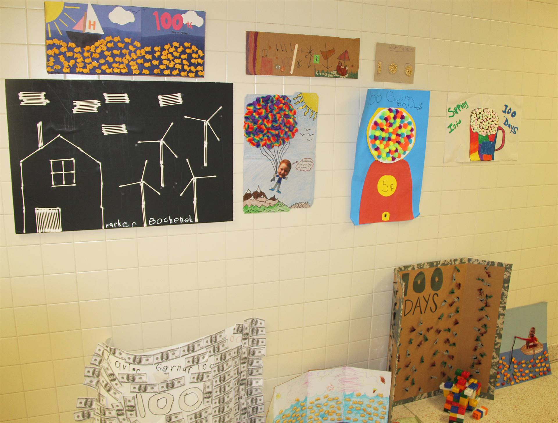 100 days of school projects in hallway