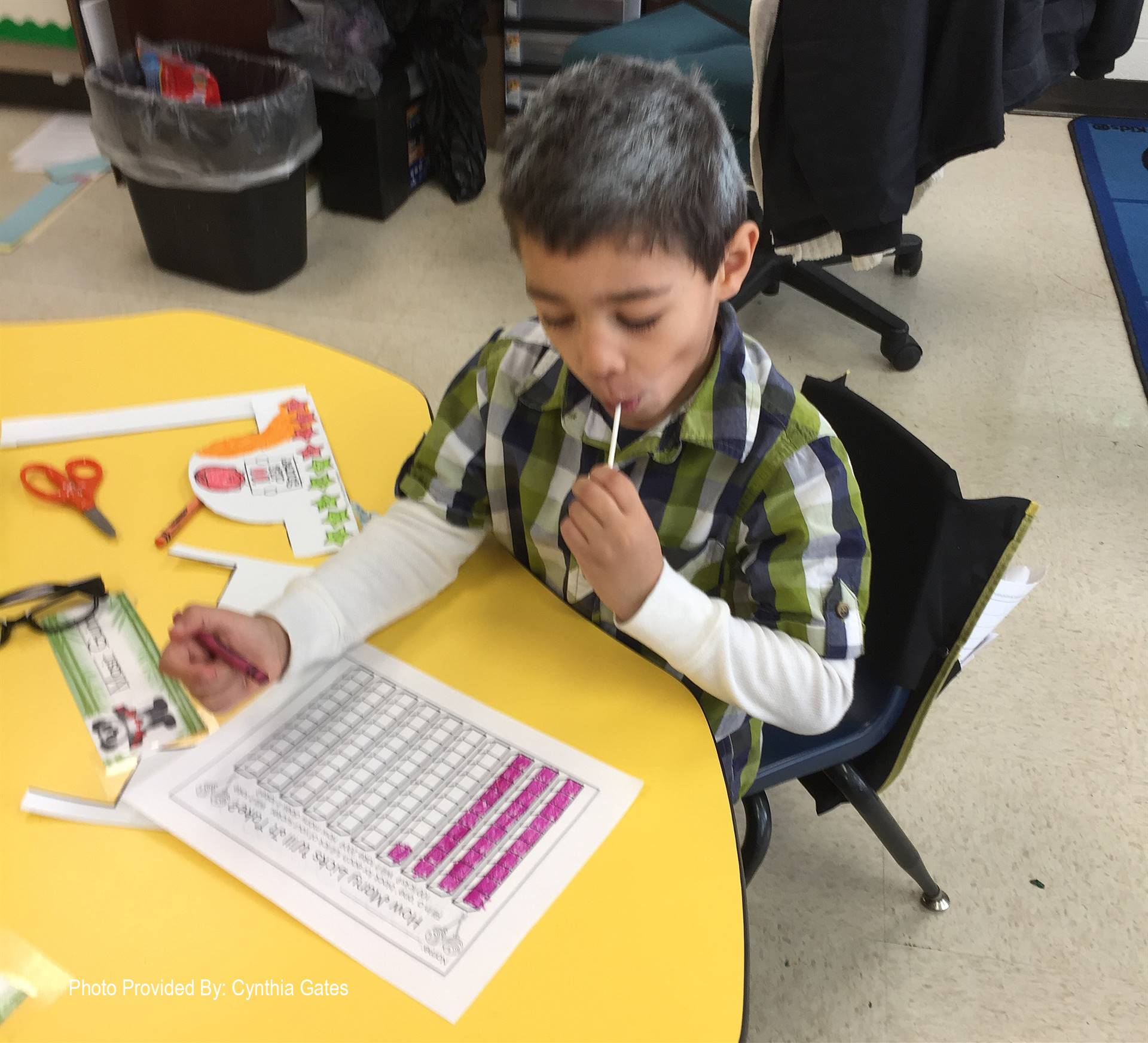 student participating in 100 days of school activity
