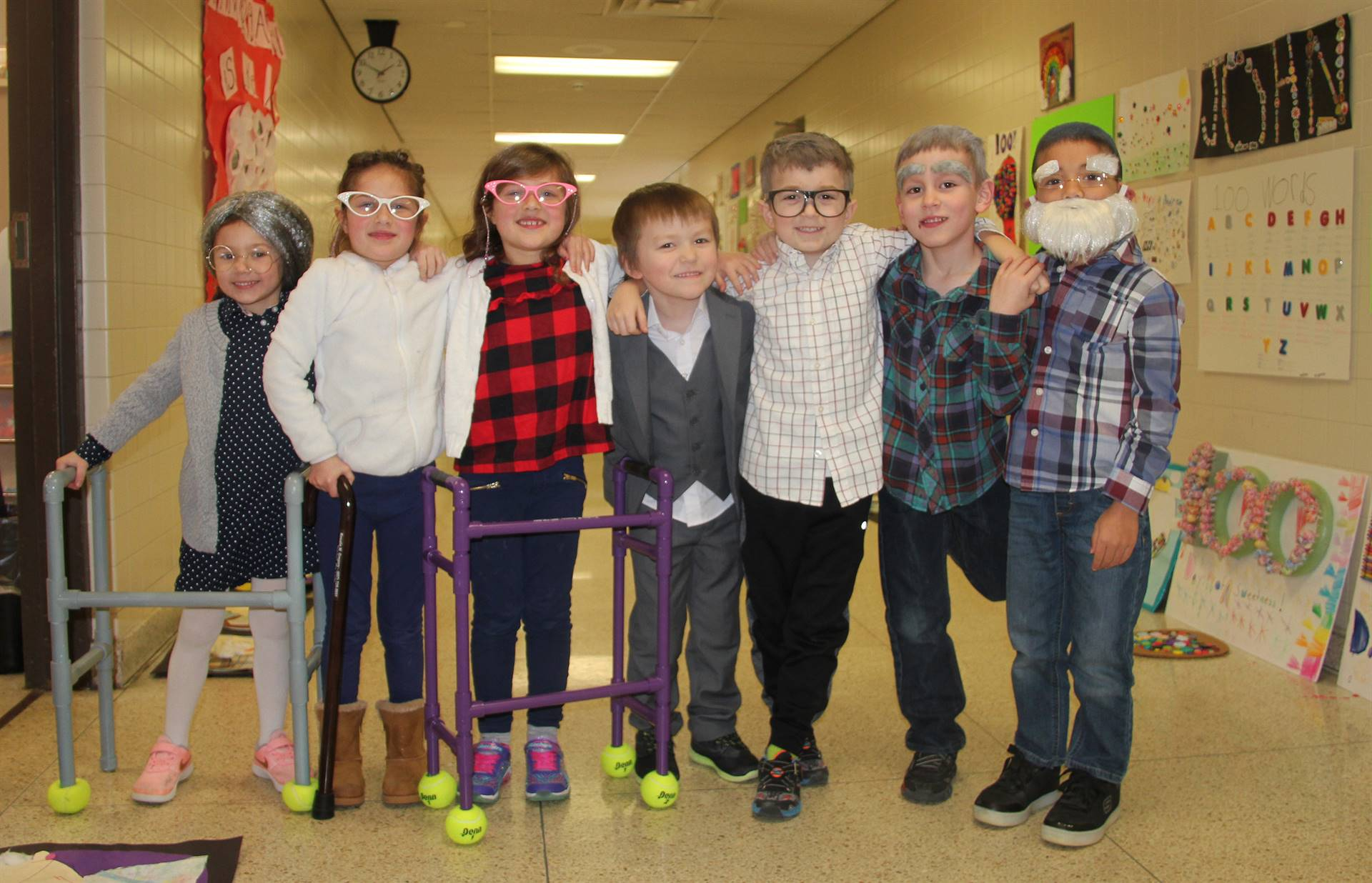 students dressed up for 100 days of school