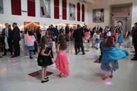 wide shot of people on dance floor
