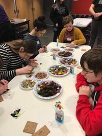 more students working on glass projects