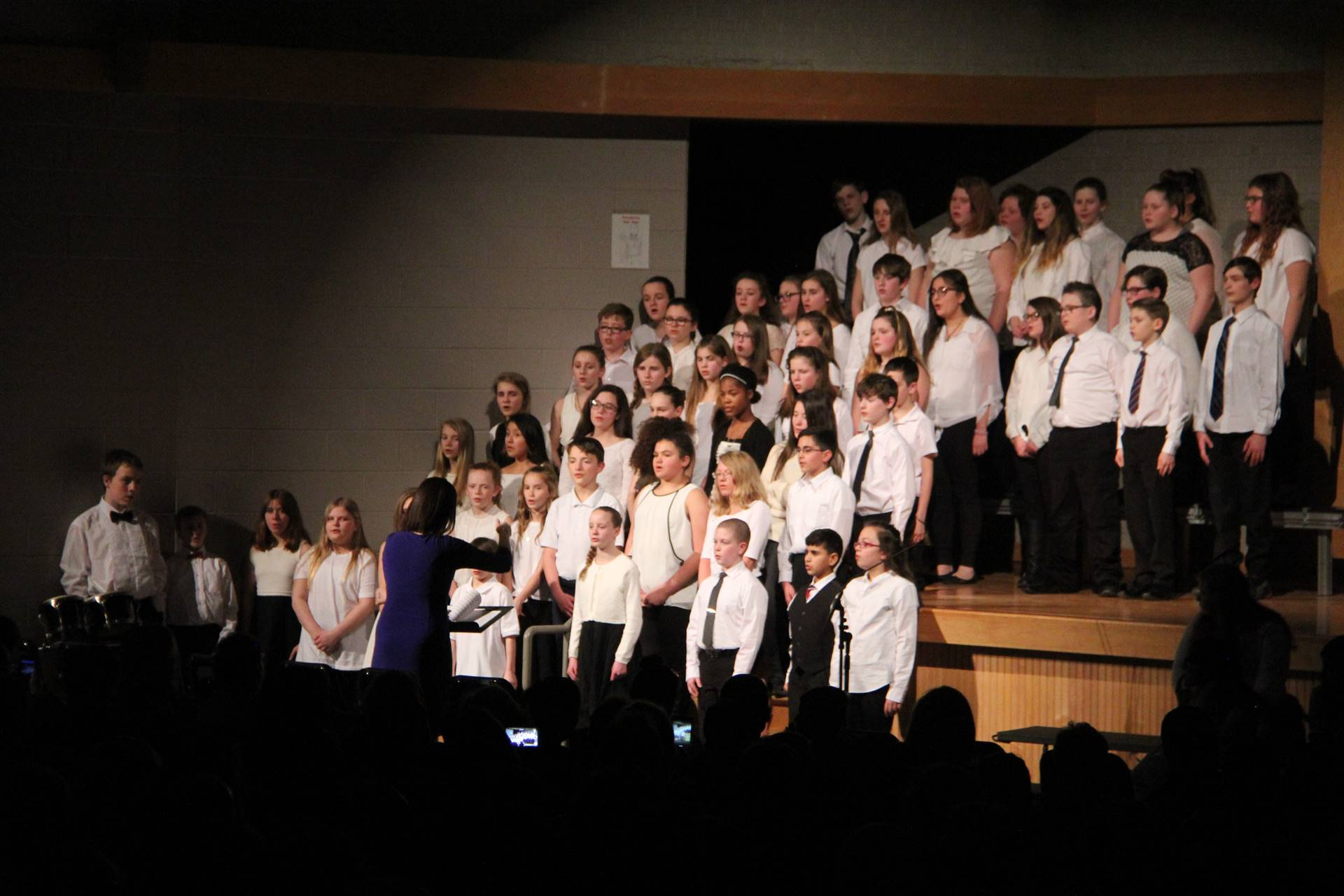 students singing in chenango valley warriors for peace concert 15