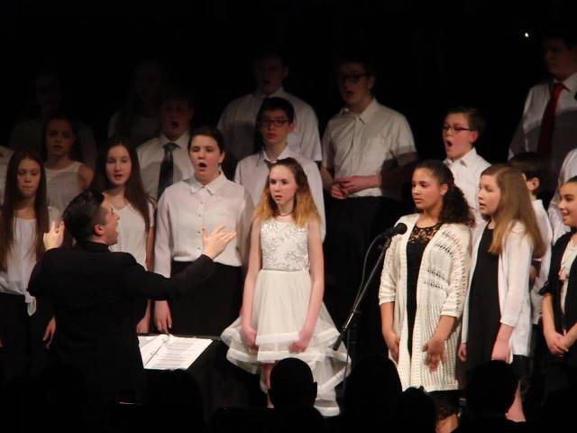 students singing in chenango valley warriors for peace concert 5