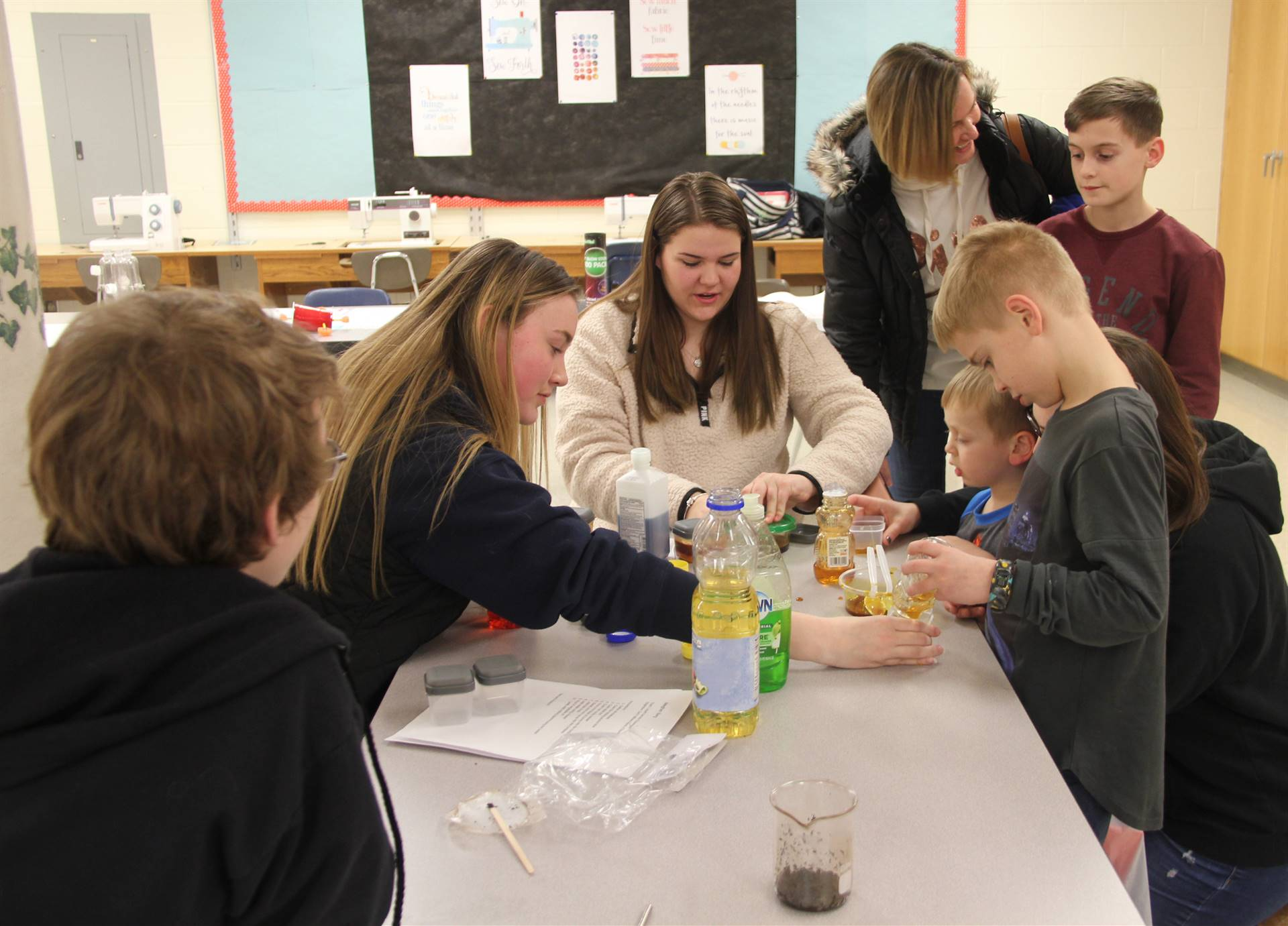 students participating in steam night activity