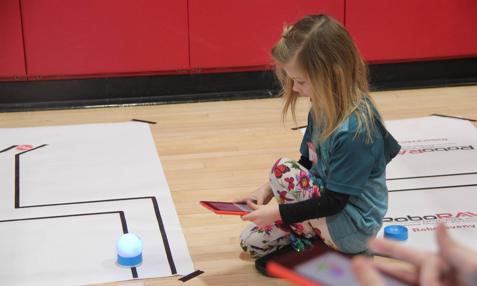 student taking part in steam night activity