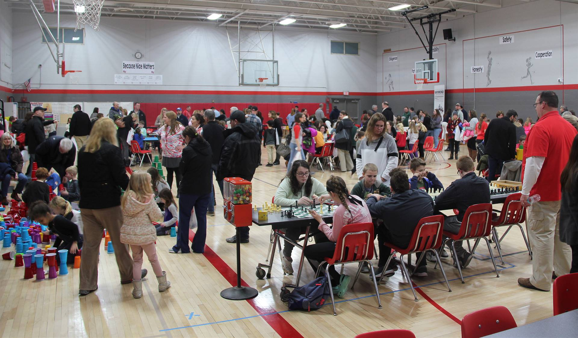 wide shot of gymnasium for steam night
