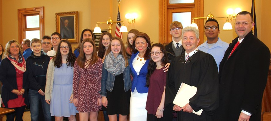 Chenango Valley Middle School students at Naturalization Ceremony
