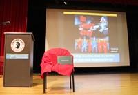 empty chair next to podium