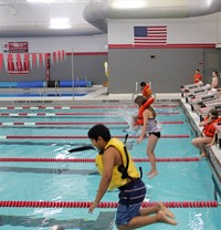 Port Dickinson Elementary students taking part in swim unit 9