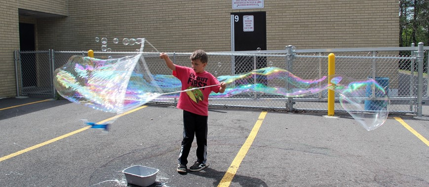 student making a bubble