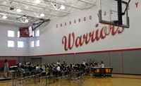 middle school band students performing