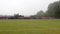 wide shot of runners lined up