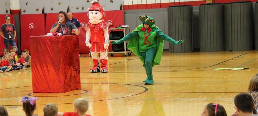 mascots at p 2 kick off assembly