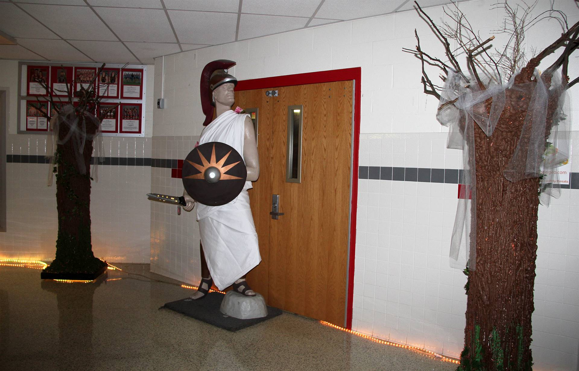 warrior statue dressed up for homecoming