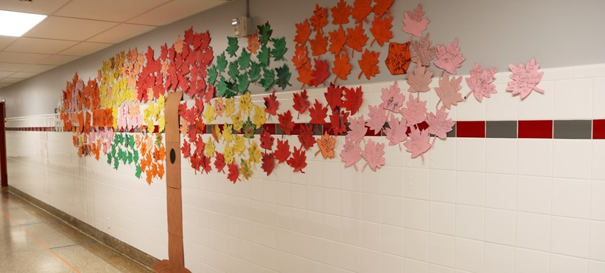 gratitude tree in elementary school hallway