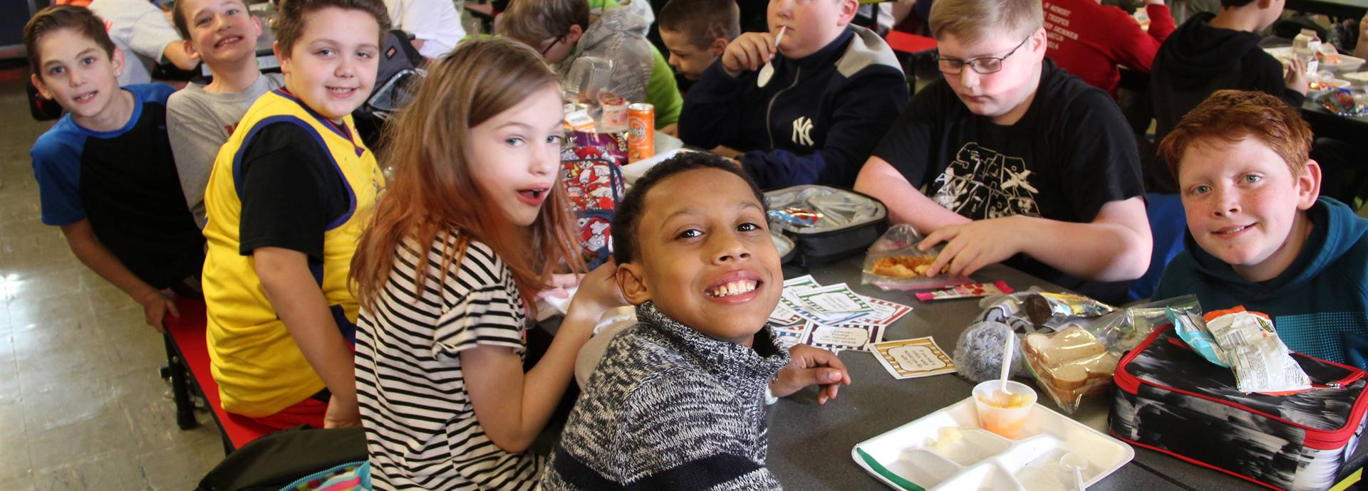chenango bridge students smiling at lunch