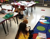 students working in pairs in classroom