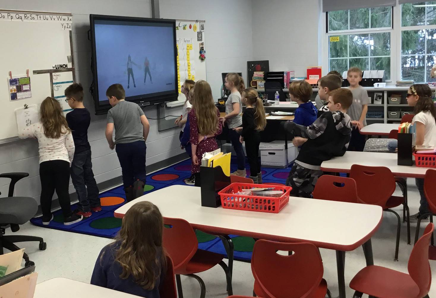 students doing activity in classroom