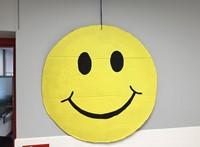 smiley face decoration in hallway