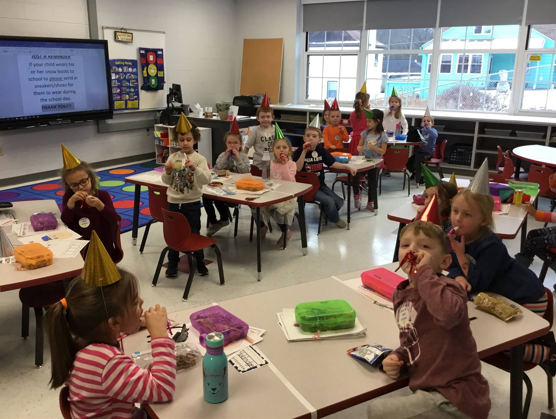 students celebrating the new year and new school