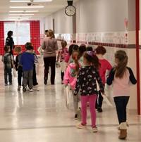 students walking through hallways