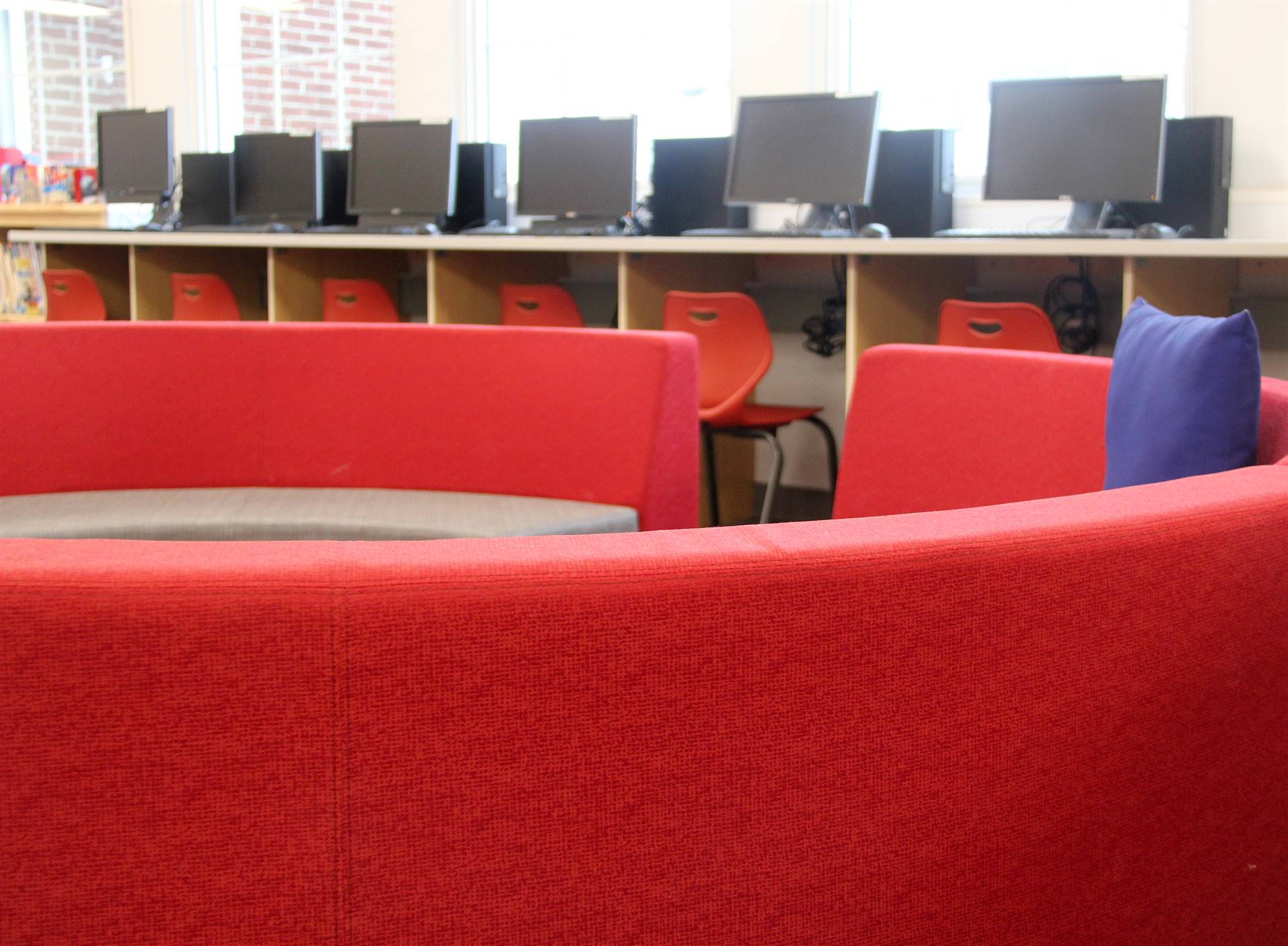 seating and computers in library