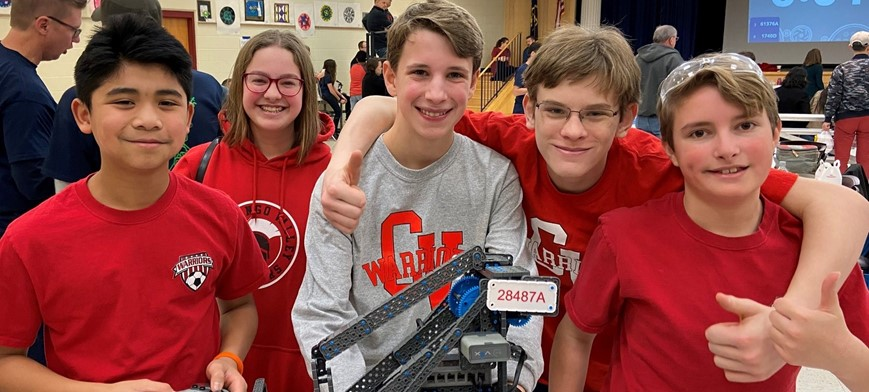 middle school students at vex competition