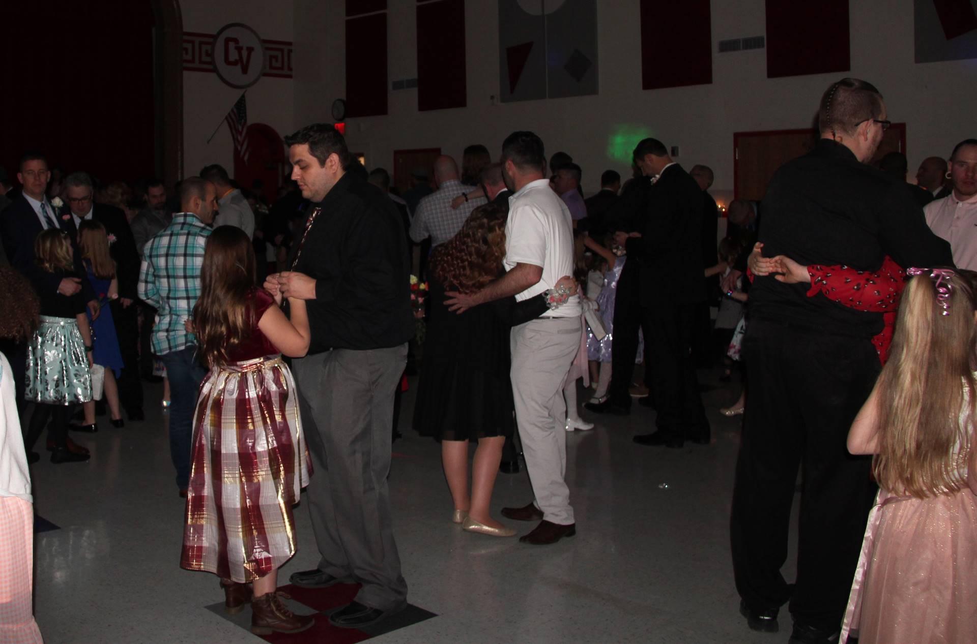 wide shot of people dancing