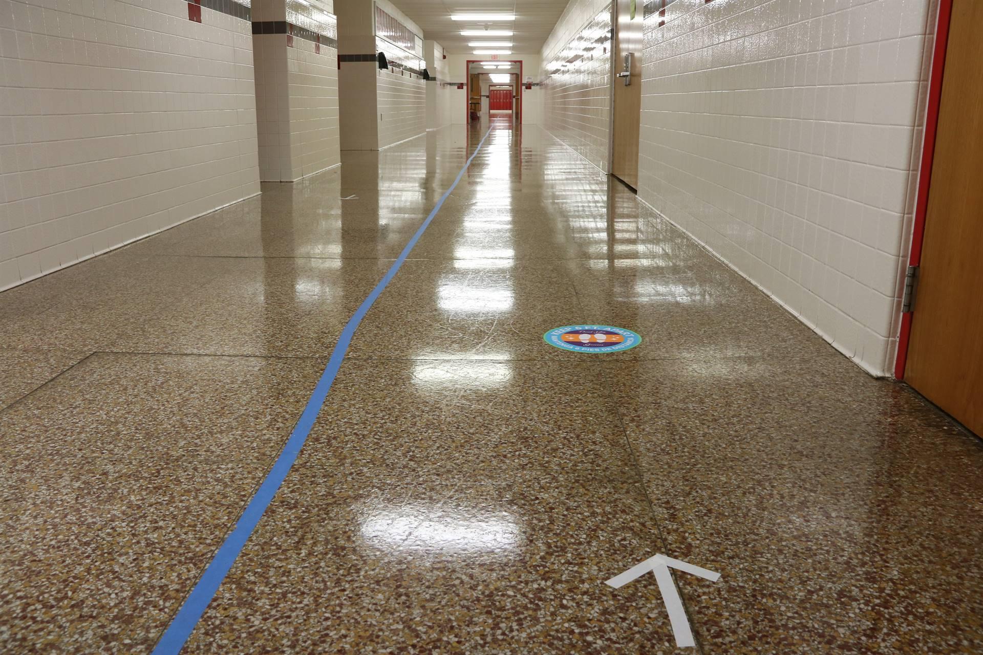 hallways with stickers