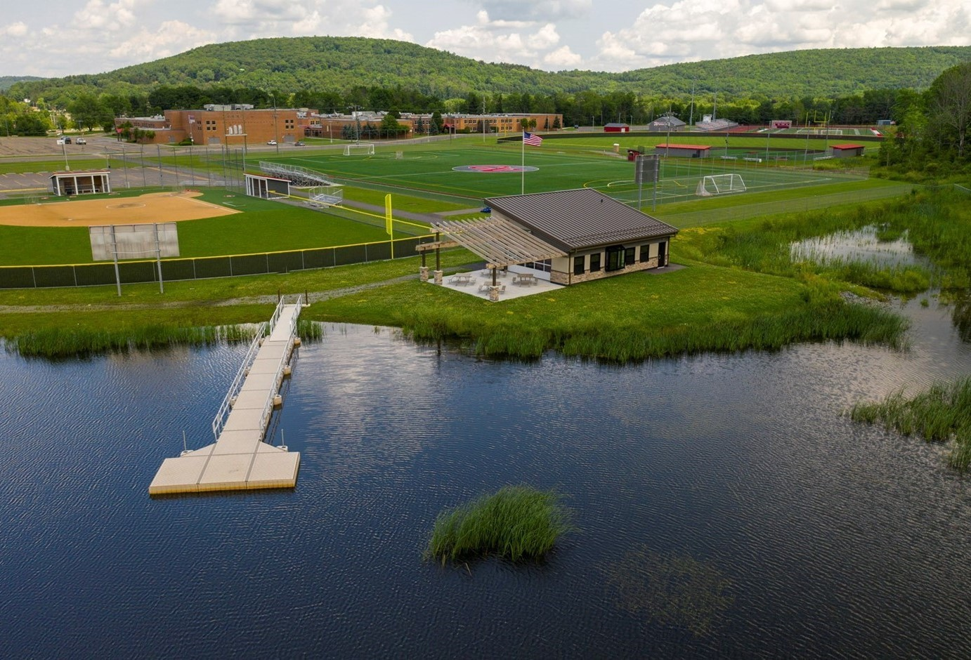 drone shot of outdoor learning center