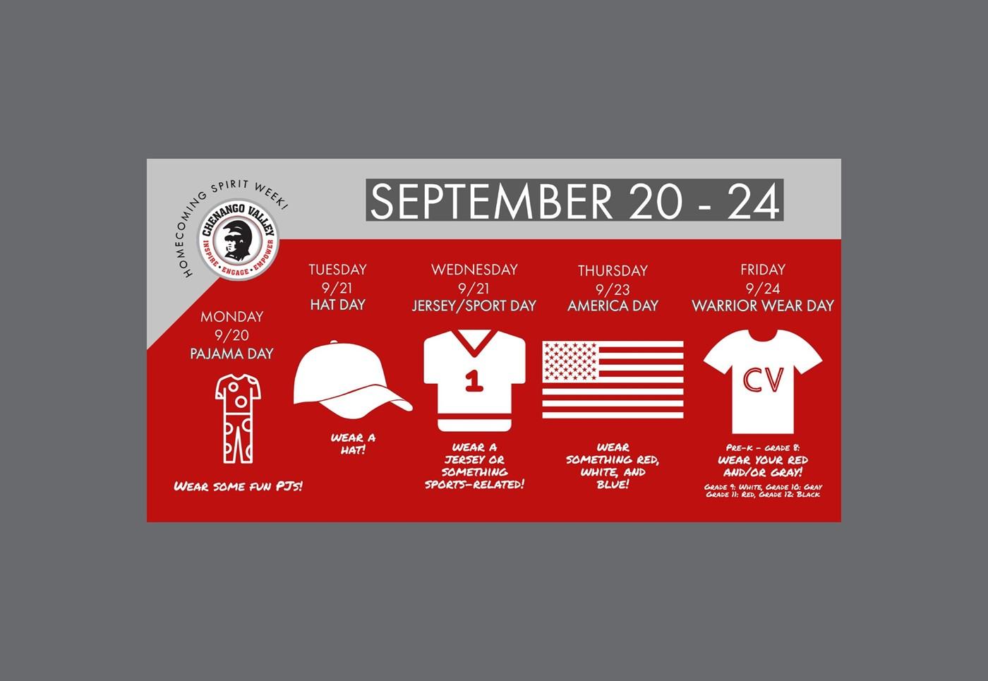 Spirit Week September 20 - 24
