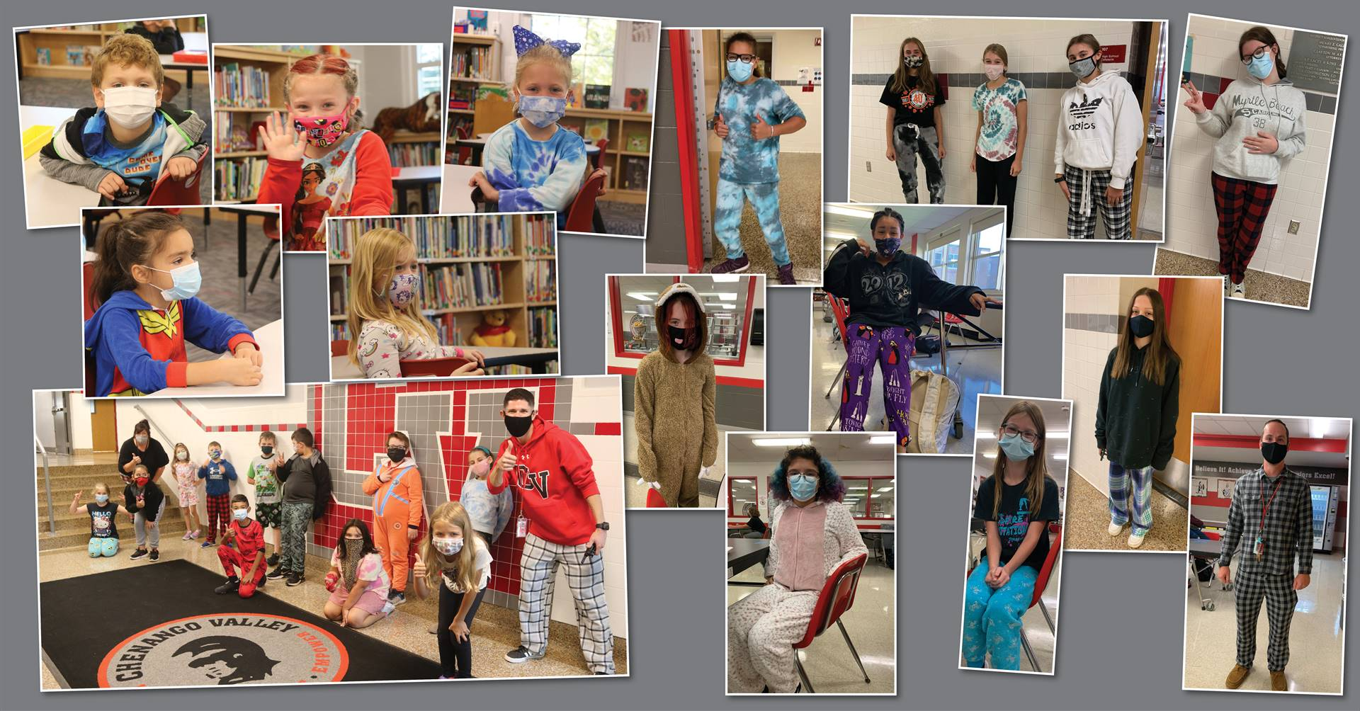 Students participating in pajama day