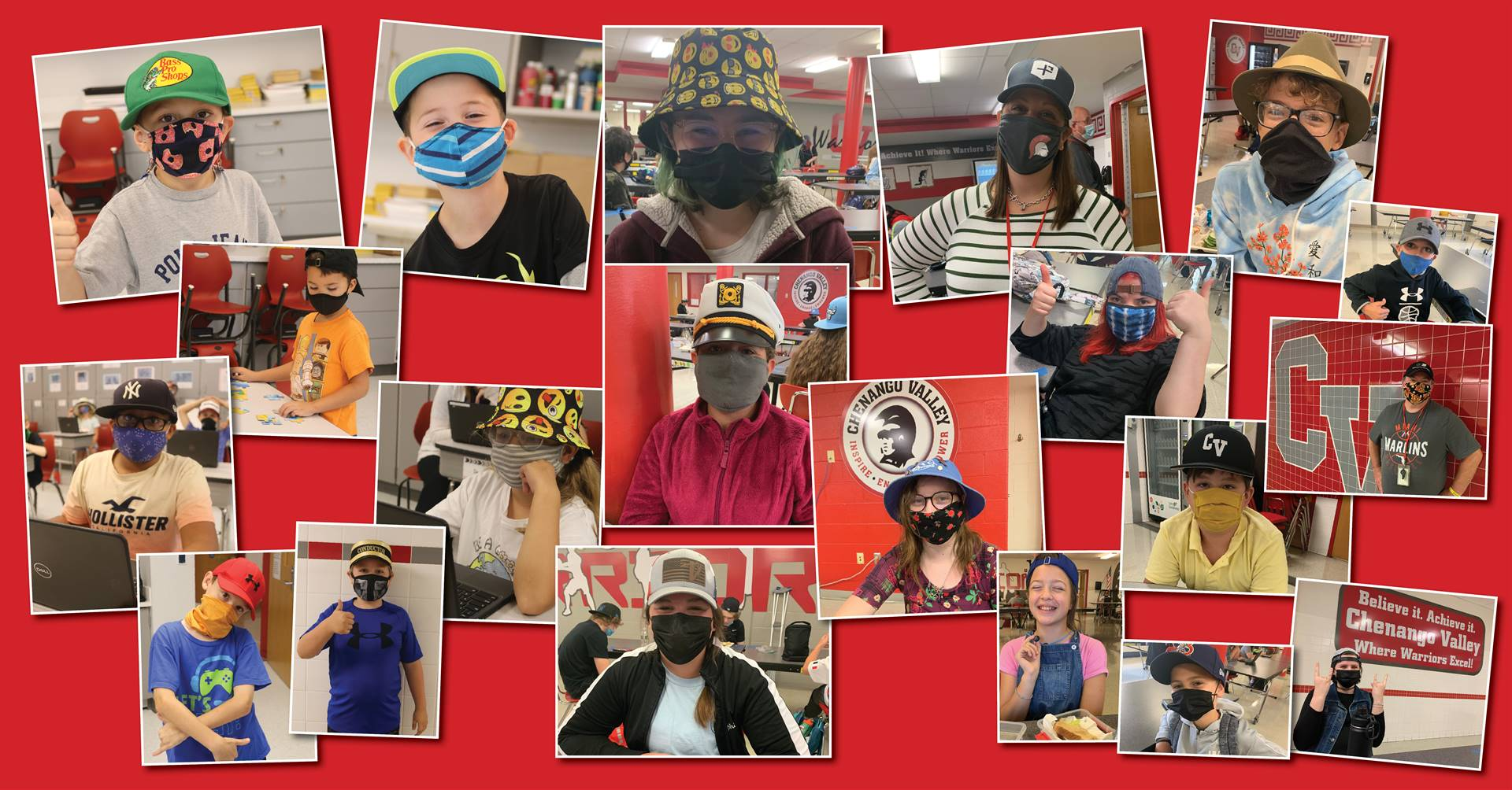 students and staff wearing hats for hat day