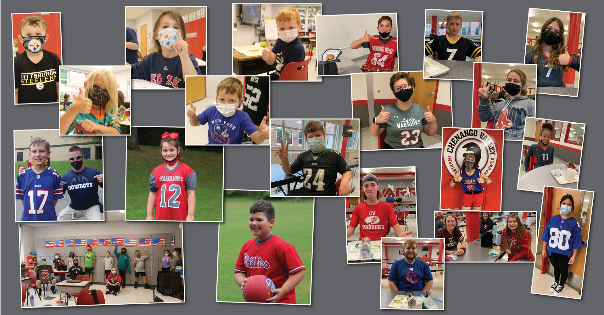 students dressed for jersey/sports day