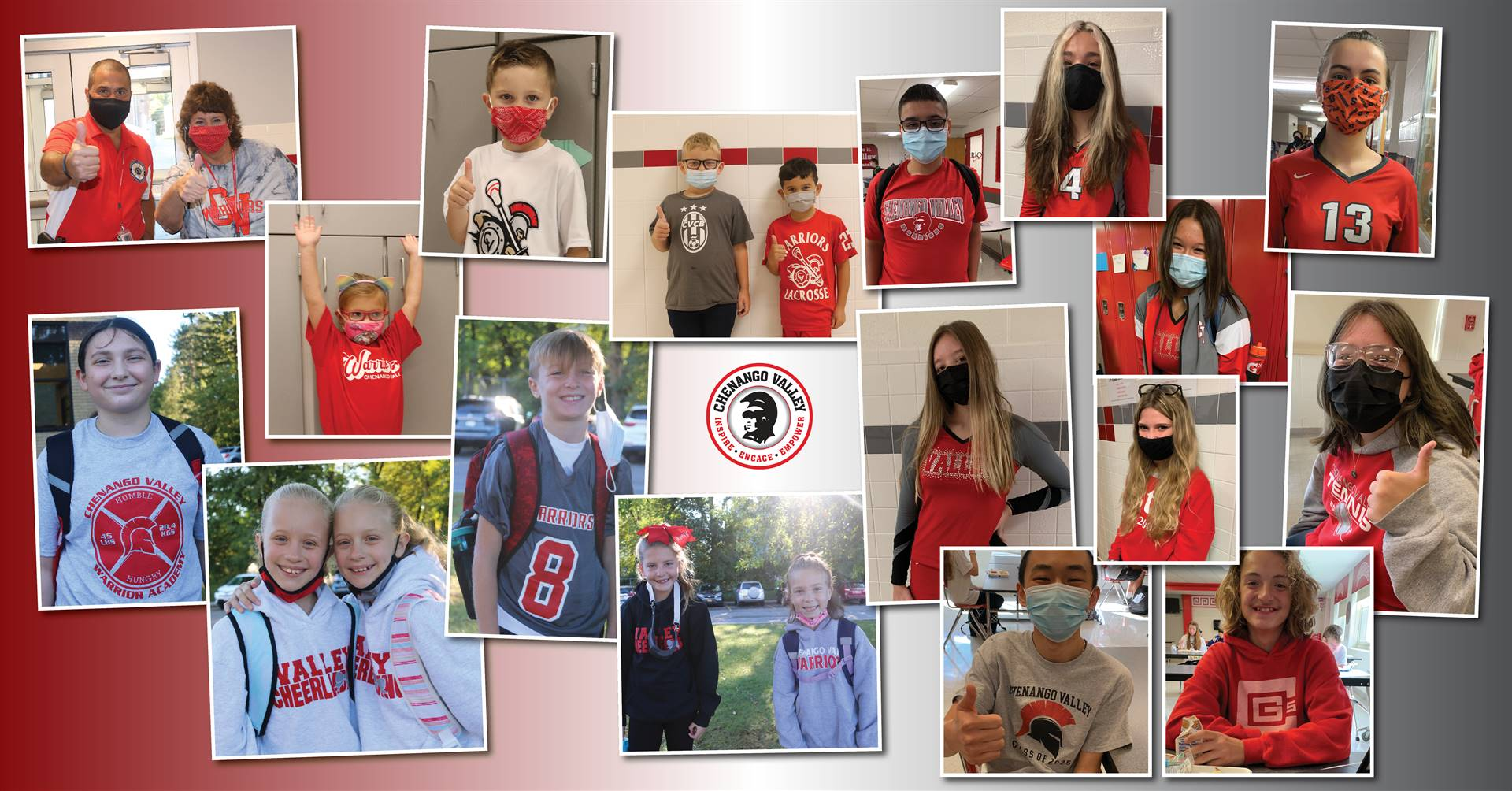 students dressed in red and gray for warrior day for spirit week