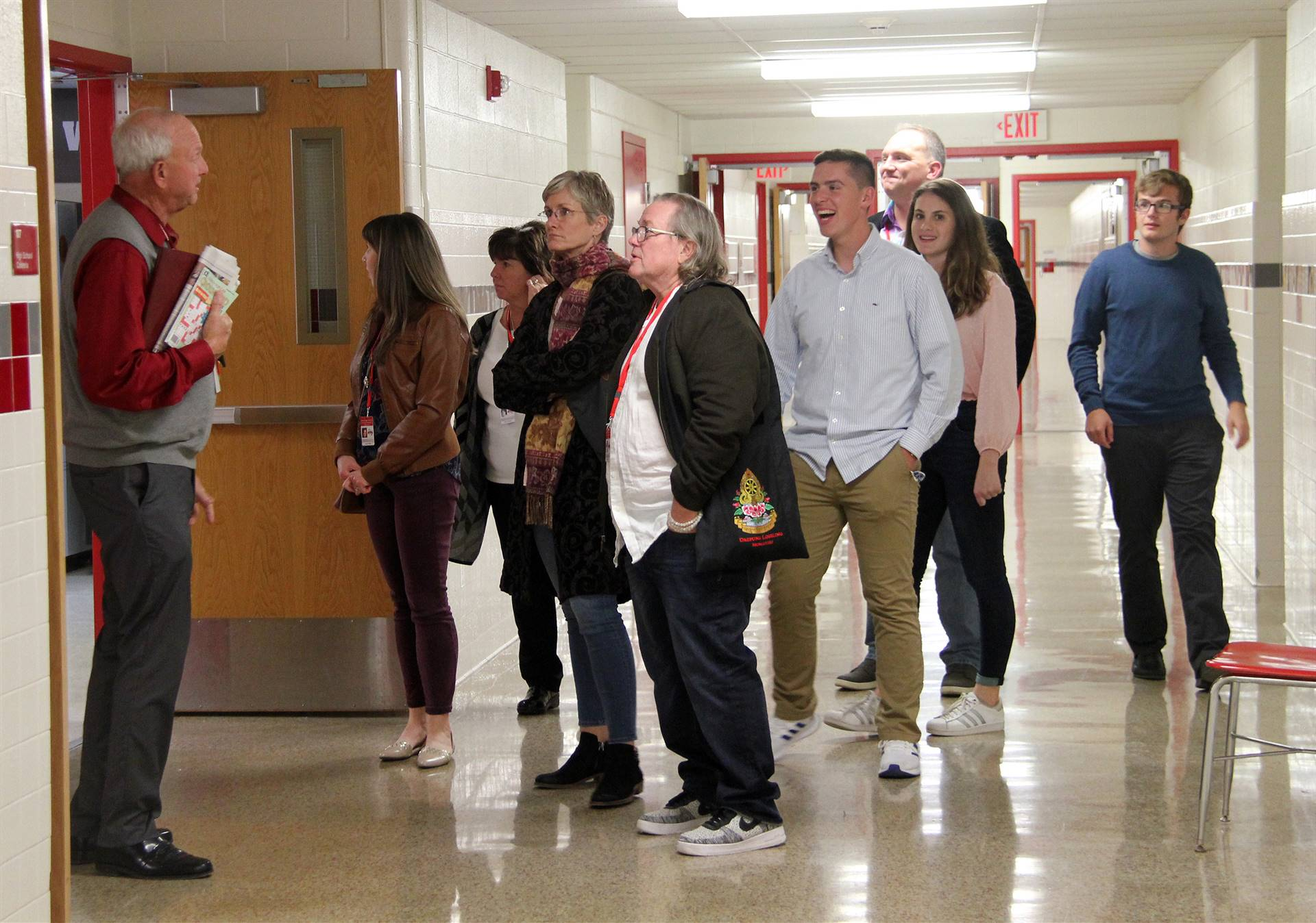 honorees receiving tour of middle school and high school
